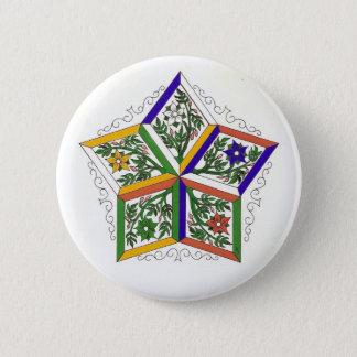 Badge Rond 5 Cm Penta-Étoile dans le Pin de fleurs