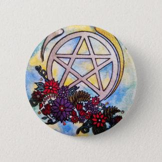 Badge Rond 5 Cm pentagramme 3d floral