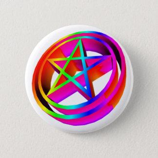 Badge Rond 5 Cm pentagramme à trois dimensions #4 d'arc-en-ciel