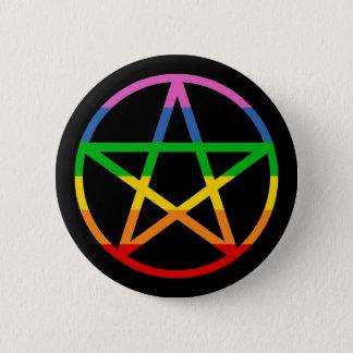 Badge Rond 5 Cm Pentagramme d'arc-en-ciel