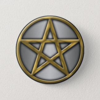 Badge Rond 5 Cm Pentagramme d'or sur l'argent