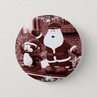 Badge Rond 5 Cm Père Noël et ondulation d'ami de pingouin