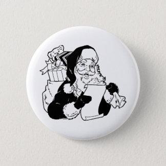 Badge Rond 5 Cm Père Noël vérifiant sa liste