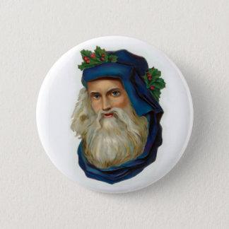 Badge Rond 5 Cm Père Noël victorien bleu