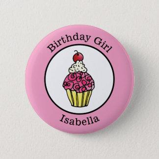 Badge Rond 5 Cm Petit gâteau de fille d'anniversaire personnalisé