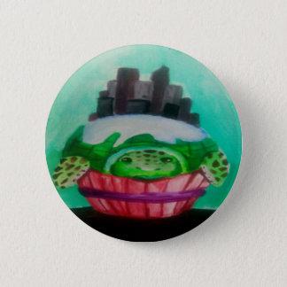 Badge Rond 5 Cm Petit gâteau de ville d'île de ville de tortue