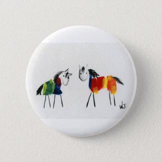 Badge Rond 5 Cm Peu de poneys d'arc-en-ciel