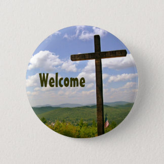 Badge Rond 5 Cm Pin croisé chrétien de Greeters d'église