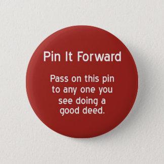 Badge Rond 5 Cm Pin il en avant - rouge