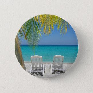 Badge Rond 5 Cm Plage tropicale de paradis dans les Caraïbe