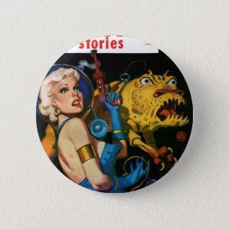 Badge Rond 5 Cm Platine blond et son ami de monstre