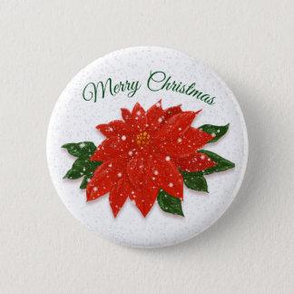 Badge Rond 5 Cm Poinsettia rouge dans la neige