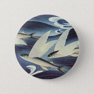 Badge Rond 5 Cm Poissons de vol vintages dans l'océan bleu,