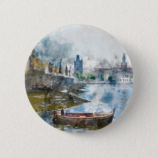Badge Rond 5 Cm Pont avec le petit bateau à Prague, République