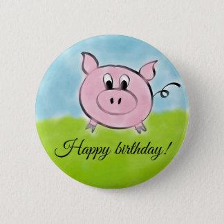 Badge Rond 5 Cm Porc de joyeux anniversaire