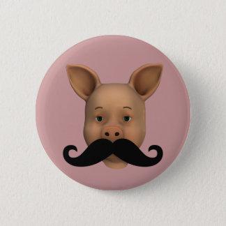 Badge Rond 5 Cm Porcelet avec la moustache