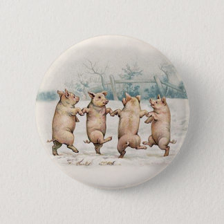 Badge Rond 5 Cm Porcs mignons et drôles de danse - cru