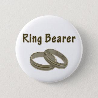 Badge Rond 5 Cm Porteur d'alliances avec les anneaux d'or