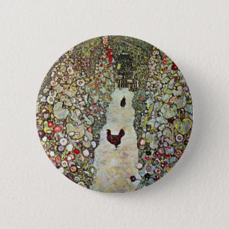 Badge Rond 5 Cm Poulets du chemin W de jardin, Gustav Klimt, art