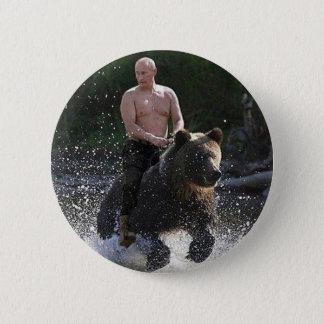 Badge Rond 5 Cm Poutine monte un ours !