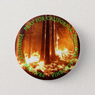 Badge Rond 5 Cm Priez pour le bouton sauvage des feux de la