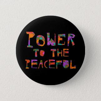 Badge Rond 5 Cm Puissance au paisible (flower power)