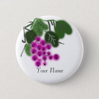 Badge Rond 5 Cm raisins pourpres et feuille vert