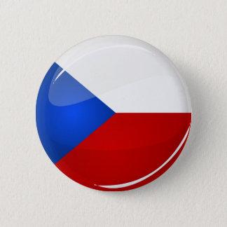Badge Rond 5 Cm Représentant rond brillant de Tchèque. Drapeau