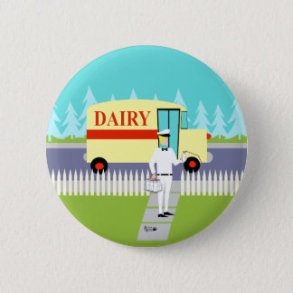Badge Rond 5 Cm Rétro bouton de laitier de petite ville