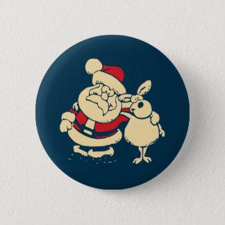 Badge Rond 5 Cm Rétro Noël Père Noël et son ami de renne