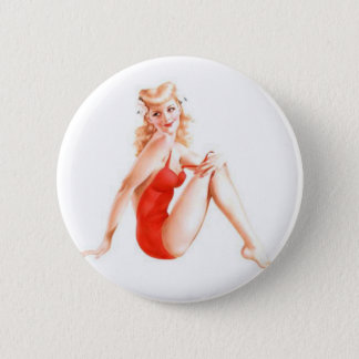 Badge Rond 5 Cm Rétro Pin de blonde vers le haut de fille