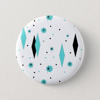 Badge Rond 5 Cm Rétros diamants de turquoise et bouton de