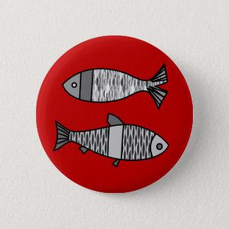 Badge Rond 5 Cm Rétros poissons modernes, rouge-foncé et gris/gris