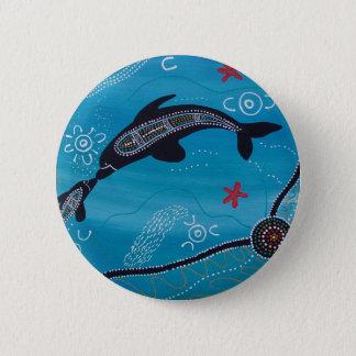 Badge Rond 5 Cm Rêver de dauphin et de veau