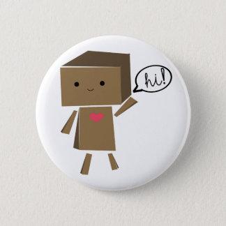 Badge Rond 5 Cm Robot de carton : bonjour !