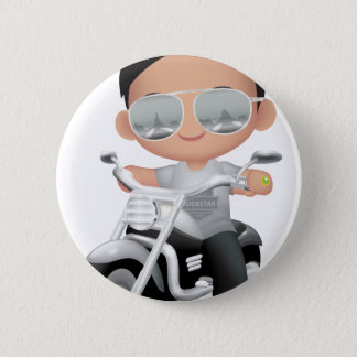 Badge Rond 5 Cm RockStar mignon sur la moto