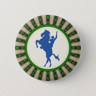 Badge Rond 5 Cm Rodéo de cowboy vert-bleu