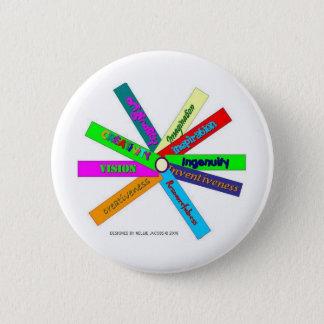 Badge Rond 5 Cm Roue de thésaurus de créativité