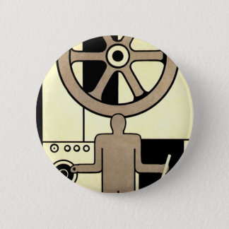 Badge Rond 5 Cm Roue vintage d'affaires d'art déco et travailleur