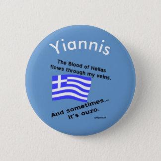 Badge Rond 5 Cm Sang de l'Hellade de drapeau et ouzo et nom grecs
