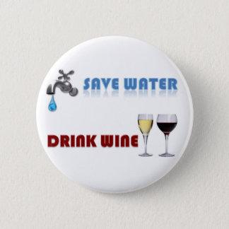 Badge Rond 5 Cm Sauvez l'eau, vin de boissons