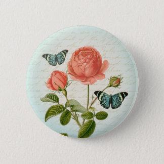Badge Rond 5 Cm S'est levé et le bouton girly floral vintage de