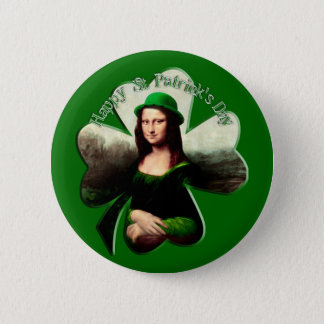 Badge Rond 5 Cm Shamrock de jour de Mona Lisa St Patrick chanceux