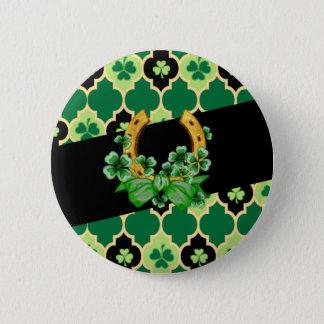 Badge Rond 5 Cm Shamrocks d'Irlandais de Quatrefoil
