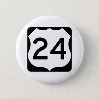 Badge Rond 5 Cm Signe de l'itinéraire 24 des USA