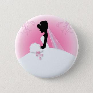 Badge Rond 5 Cm Silhouette nuptiale de jeune mariée de robe de