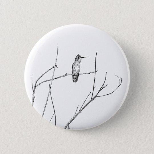 Badge Rond 5 Cm Simplement un colibri sur un bâton