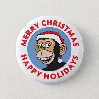 Badge Rond 5 Cm Singe de Noël de Père Noël