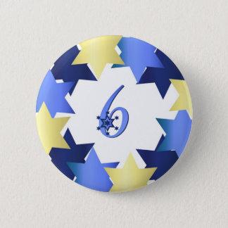 Badge Rond 5 Cm Sixième jour de bouton de Hanoukka