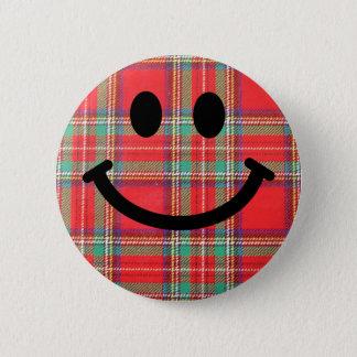 Badge Rond 5 Cm Smiley d'écossais de tartan